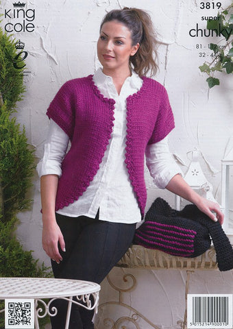 bac235b20652b6 Cardigans and Bag in King Cole Super Chunky (3819)-Deramores