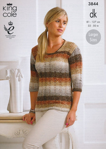 Ladies Sweater and Scarf in King Cole Shine DK (3844)-Deramores