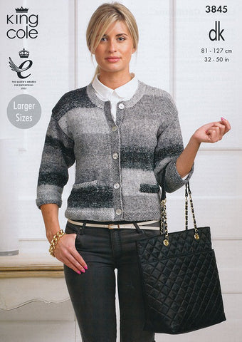 Ladies Cardigans in King Cole Shine DK (3845)-Deramores