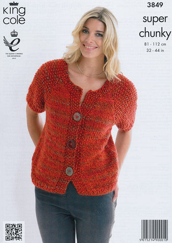 Jacket and Cardigan in King Cole Super Chunky (3849)-Deramores