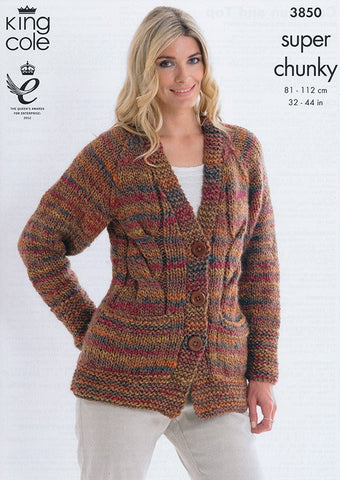 Cardigan and Top in King Cole Super Chunky (3850)-Deramores