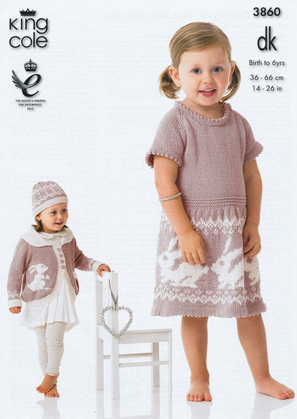 Dress, Cardigan, Hat and Blanket in King Cole DK (3860)-Deramores