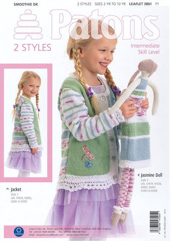 Lace Trim Jacket and Doll in Patons Smoothie DK (3861)-Deramores