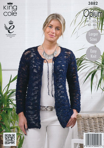 Ladies Cardigan in King Cole Opium (3882)-Deramores