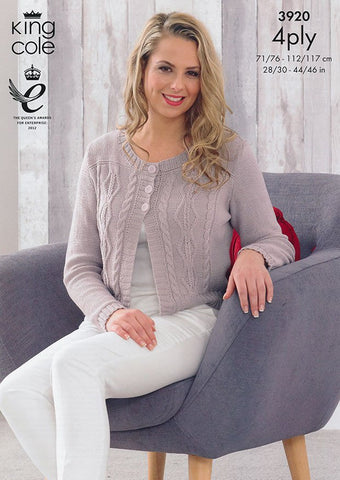 Cardigan and Waistcoat in King Cole Bamboo 4 Ply (3920)-Deramores