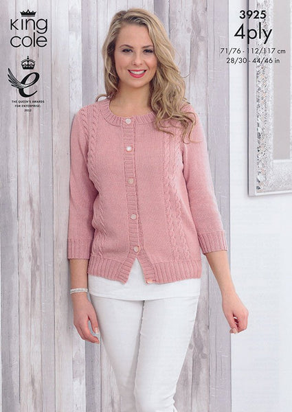 Cardigan and Top in King Cole Bamboo 4Ply (3925)-Deramores