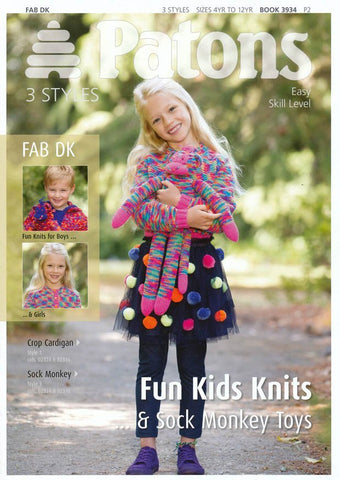 Fun Kids Knits & Sock Monkey in Patons Fab DK (3934)-Deramores