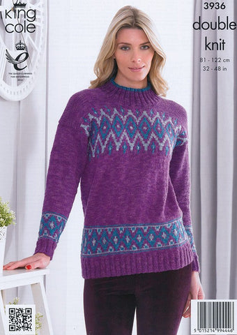 Mens and Womens Sweaters in King Cole Moods Duet DK (3936)