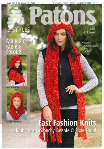 Ribby Scarf, Slouchy Beanie & Pixie Hood in Patons Fab Big (3939)