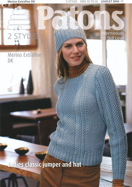 Ladies Classic Jumper and Hat in Patons Merino Extrafine DK (3944)