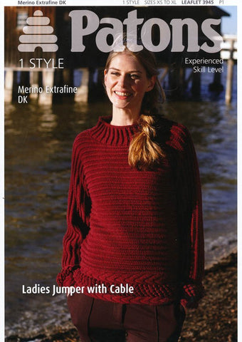 Ladies Jumper with Cable in Patons Merino Extrafine DK (3945)-Deramores