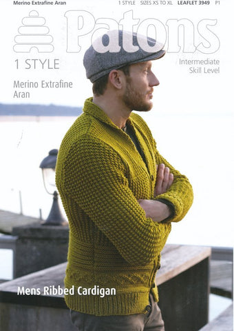Mens Ribbed Cardigan with Shawl Collar in Patons Merino Extrafine Aran (3949)