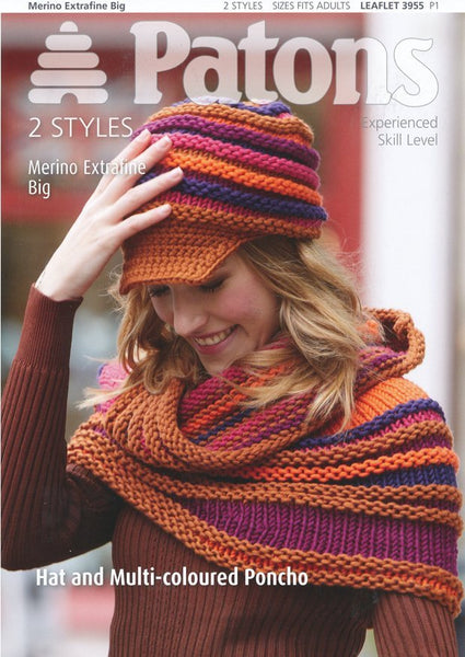 Hat and Multi-Coloured Poncho in Patons Merino Extrafine Big (3955)