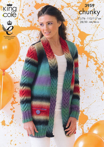 Cardigan and Waistcoat in King Cole Riot Chunky (3959)-Deramores