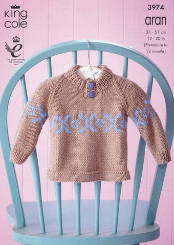 Baby Set in King Cole Comfort Aran (3974)-Deramores