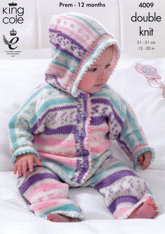 Cardigan and Jumper Chunky King Cole 3042 KNITTING PATTERN Baby Hooded Jacket