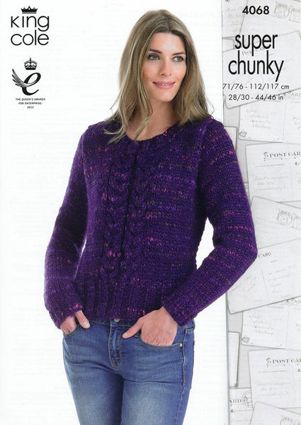 Jacket and Sweater in King Cole Super Chunky (4068)-Deramores