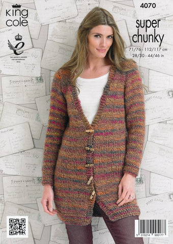 Jacket and Sweater in King Cole Super Chunky (4070)-Deramores