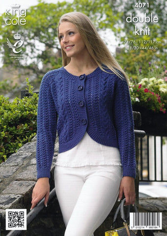 Curved and Straight Cardigans in King Cole Merino Blend DK (4071)-Deramores