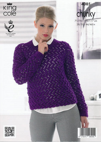Cardigan and Sweater in King Cole Chunky (4085)-Deramores