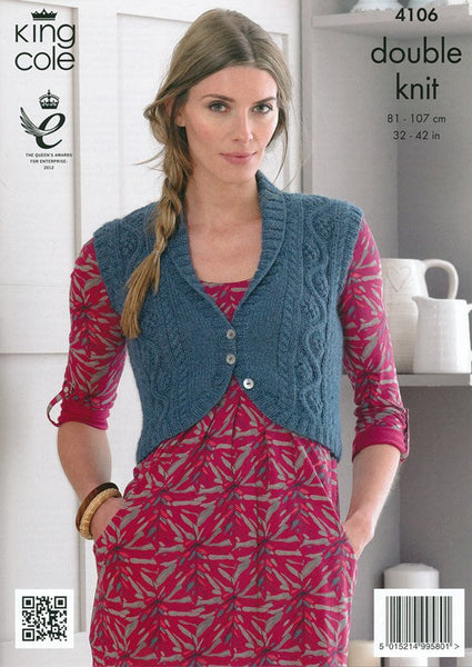 Cardigan and Bolero in King Cole DK (4106)-Deramores