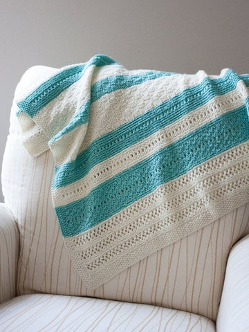Peek A Blue Baby Blanket in Ewe So Sporty Merino (410)