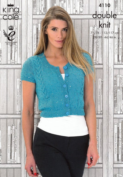 Ladies Cap Sleeved Cardigan and Long Sleeved Sweater in King Cole Galaxy DK (4110)-Deramores