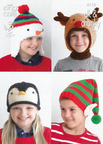 Kid's Novelty Hats in King Cole DK and Chunky (4113)-Deramores