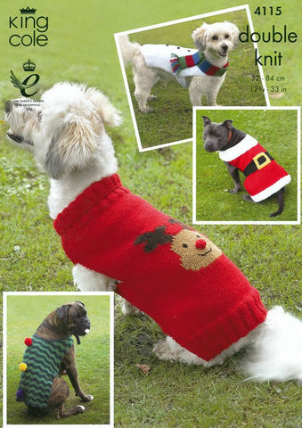 Christmas Dog Coats in King Cole DK (4115)-Deramores