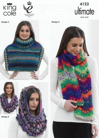 Chevron Scarf, Shoulder Wraps, Cowl and Slouchy Hat in King Cole Ultimate Super Chunky (4122)-Deramores