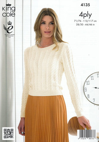 Ladies Cabled Sweater and Slipover in King Cole Bamboo 4 Ply (4135)-Deramores