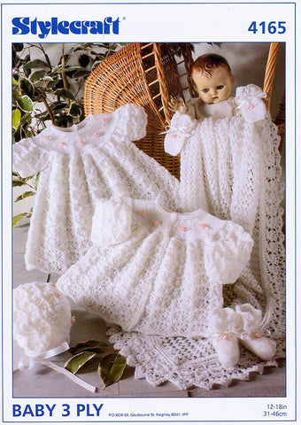 Matinee Coat, Dress, Bonnet, Bootees, Mittens and Shawl in Stylecraft Wondersoft 3 Ply (4165)