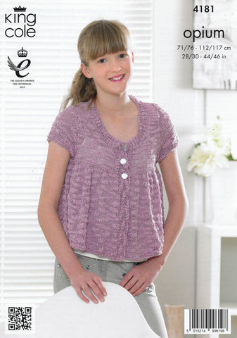 Frilled Top and Frilled Cardigan in King Cole Opium (4181)-Deramores