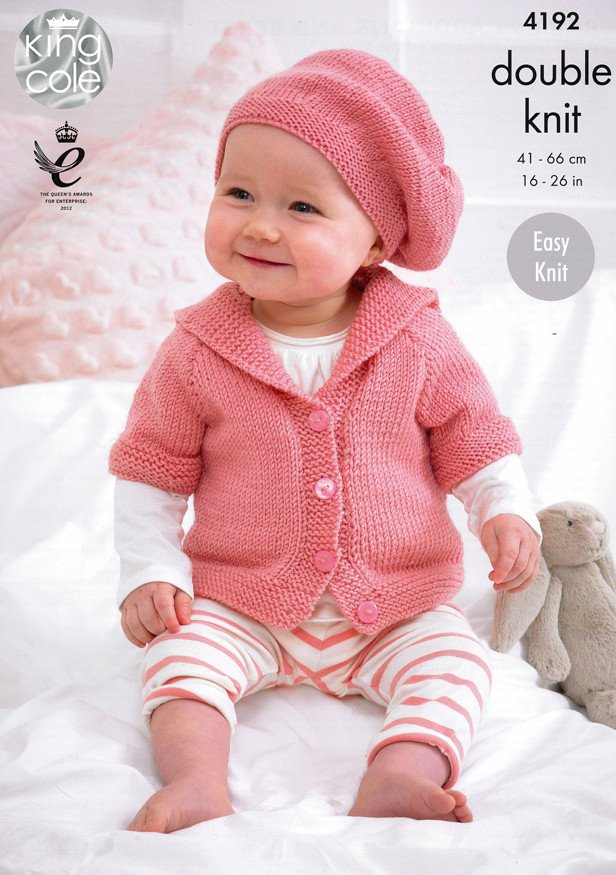 Babies Cardigans and Beret in King Cole Cherish and Cherished DK (4192)-Deramores