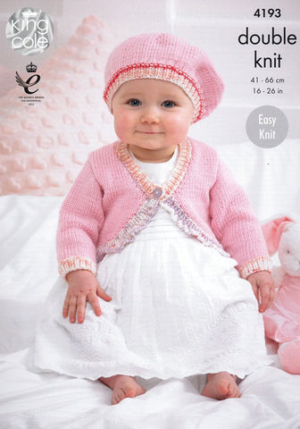 Baby Cardies and Beret in King Cole Cherish and Cherished DK (4193)-Deramores