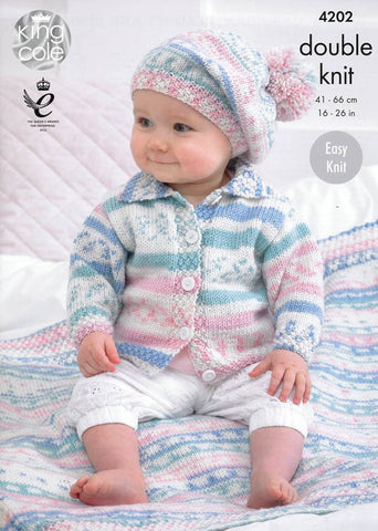 Babies' Cardigan, Blanket and Beret in King Cole Cherish DK (4202)-Deramores