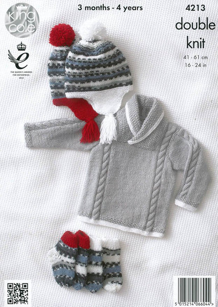 Jackets Sweater Hat And Socks In King Cole Dk 4213