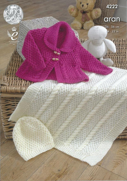 Jacket, Blanket and Hat in King Cole Comfort Aran (4222)-Deramores