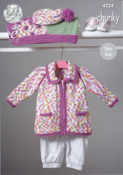Blanket, Coat, Jacket and Hat in King Cole Comfort Chunky (4224)