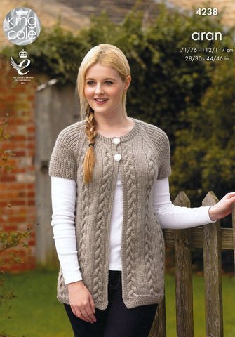 Cardigan & Sweater in King Cole Fashion Aran (4238)-Deramores