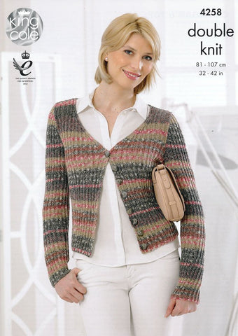Cardigan and Top in King Cole Drifter DK (4258)-Deramores