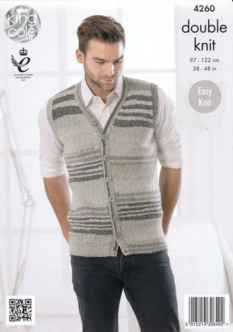 Mens Slipover and Waistcoat in King Cole Drifter DK (4260)