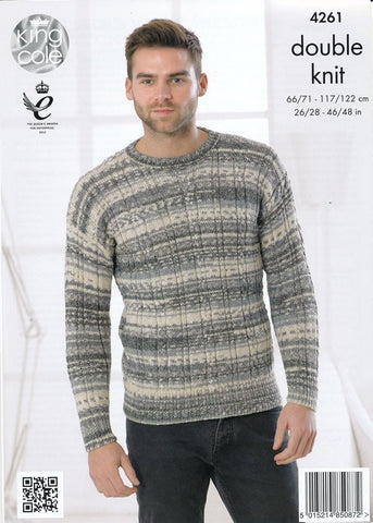Round Neck and V Neck Sweaters in King Cole Drifter DK (4261)