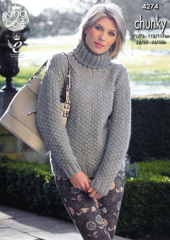 Sweater and Cardigan in King Cole Magnum Chunky (4274)