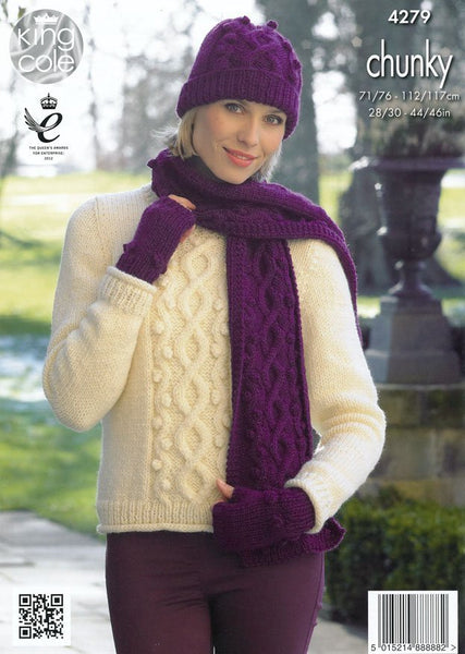 Sweater, Cowl, Hats, Scarf and Fingerless Gloves in King Cole Magnum Chunky (4279)