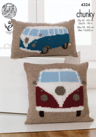 Camper Van Cushions in King Cole Chunky (4324)-Deramores