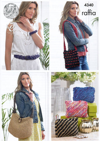 Belt, Bracelet, Bags and Purses in King Cole Raffia (4340)-Deramores