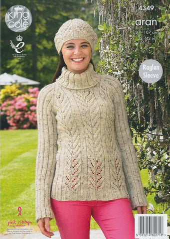 Sweater, Tunic and Hat in King Cole Fashion Aran (4349)