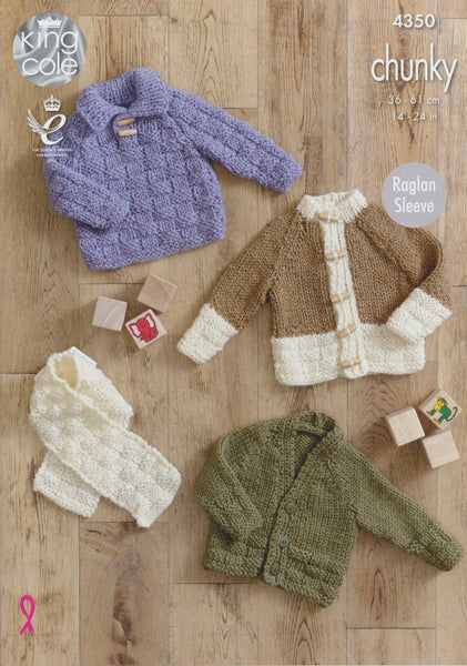 Sweater, Cardigans and Scarf in King Cole Magnum Chunky (4350)