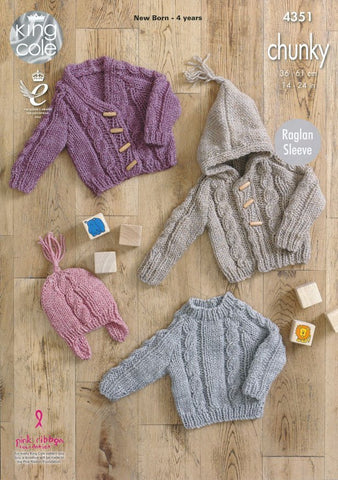 Sweater, Hooded Cardigan, V-Necked Cardigan and Hat in King Cole Magnum Chunky (4351)